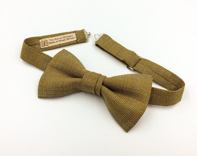 Men's brown bow tie, brown vintage woollen bow tie.