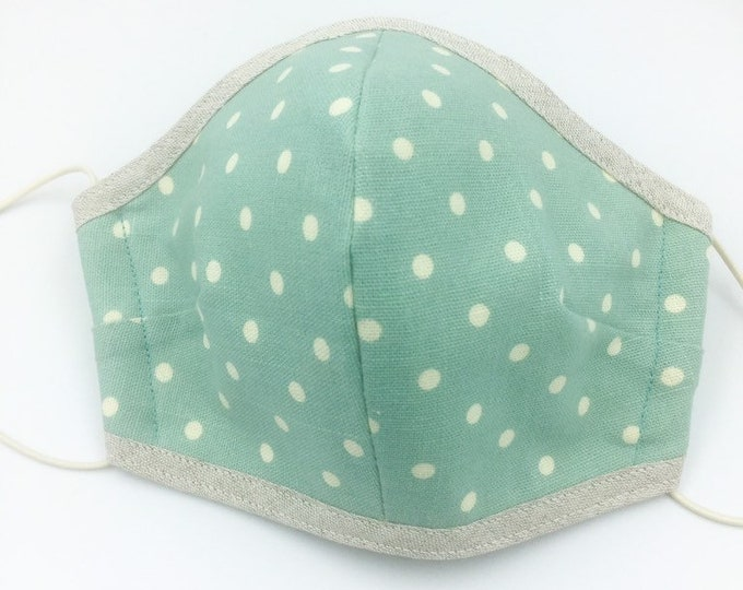 Spotted Cotton Washable Face Mask, Duck Egg Blue Cotton Face Mask.