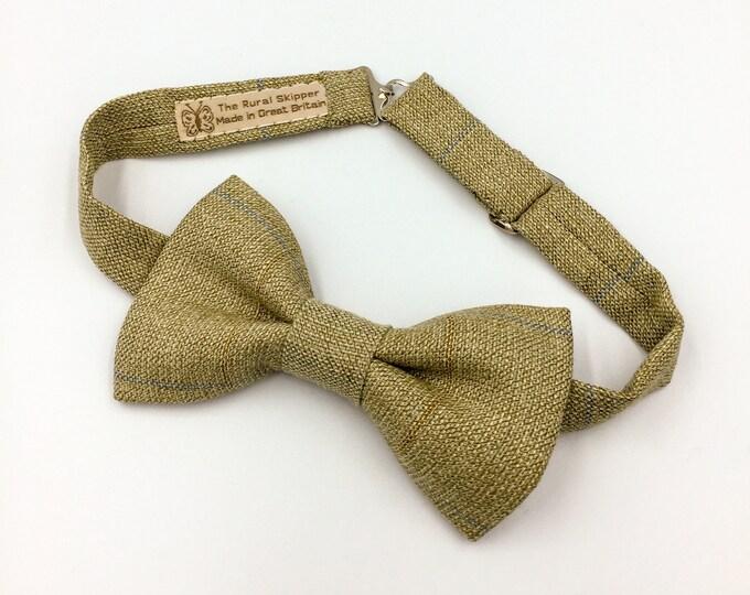 Tweed bow tie, green woollen plaid bow tie, vintage woollen bow tie.