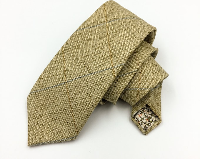 Green plaid tie, tweed woollen tie, plaid neck tie.