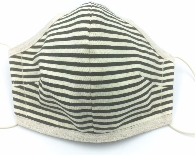 Washable cotton face mask, Three-layered Washable quality cotton face mask, striped cotton Dust Shield.