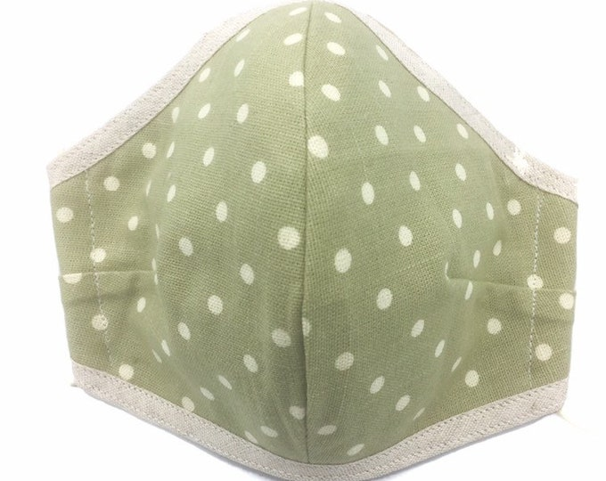 Green Spotted Cotton Face Mask, Washable Three-Layered Face Mask, Dust Shield.