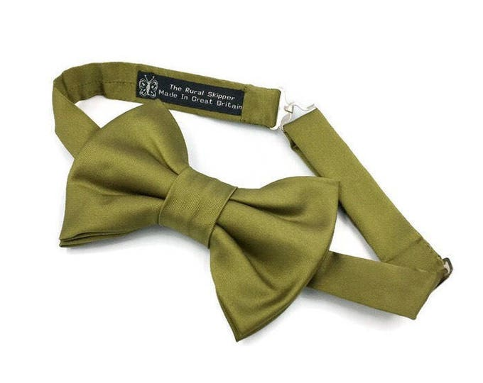 Olive green satin bow tie, green satin bow tie, evening wear bow tie.