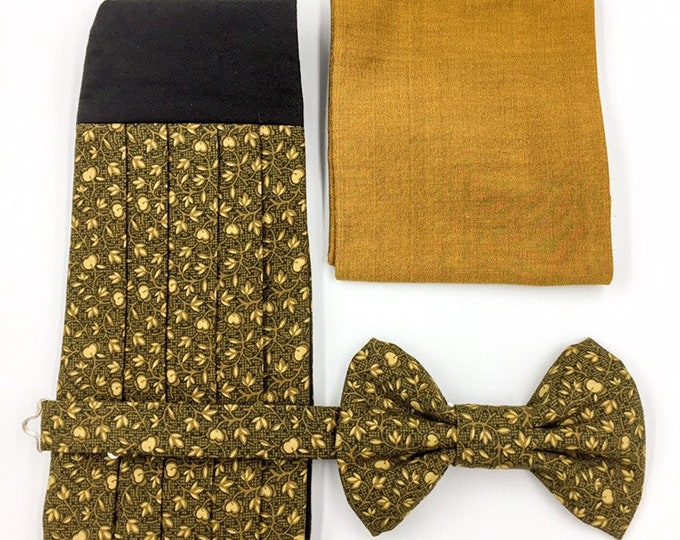 Bow tie, cummerbund and silk pocket square set, gold and black printed bow tie set.