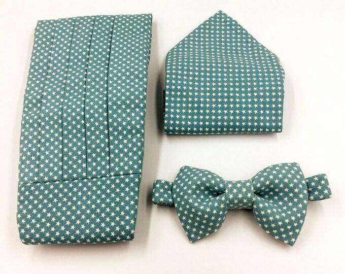 Cummerbund, bow tie and pocket square set, blue bow tie and cummerbund set, turquiose bow tie and cummerbund set.