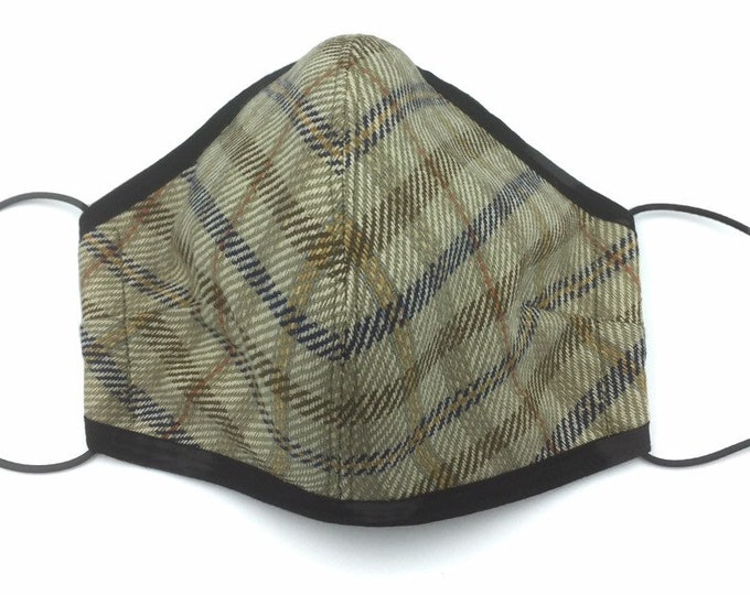Tweed Check Face Mask, Country Tweed Face Mask, Plaid Face Mask.