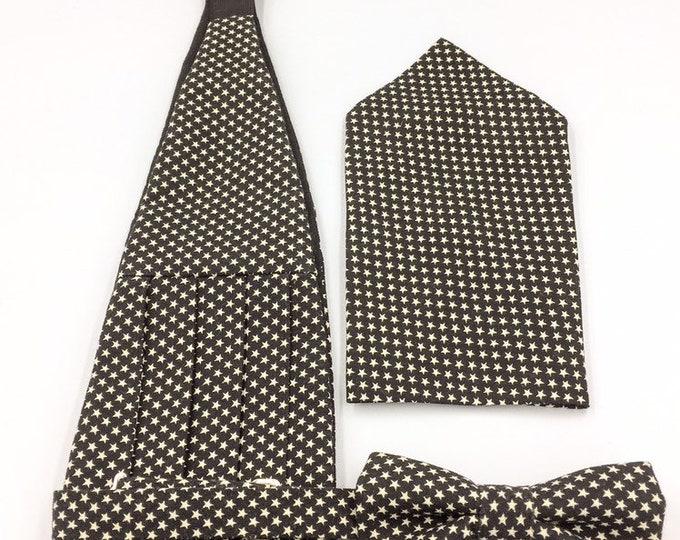 Cummerbund, bow tie and pocket square set, bow tie and cummerbund set, black bow tie and cummerbund set.