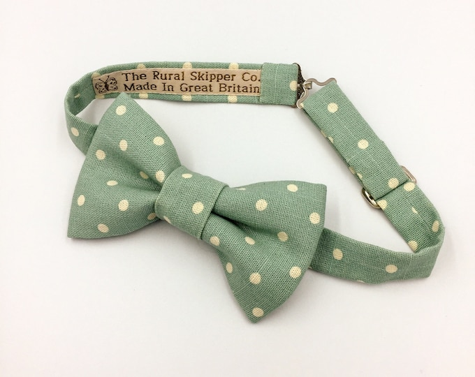 Blue spotted bow tie, pastel blue and cream spotted bow tie, wedding bow tie.