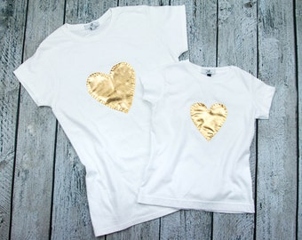 Matching Mom and Daughter t shirt set with gold hand stitched heart