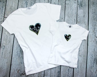 Matching mom and daughter  t shirts with handmade heart design