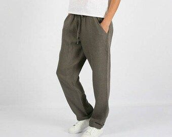 Linen pants women,gray linen pants, loose waist linen trousers pants,Washed women linen trousers,Long linen pants with pockets,harem pants