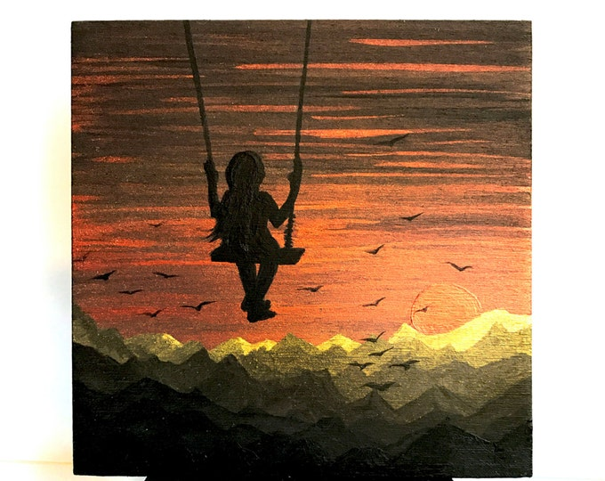 Starry night swing -  girl silhouette - miniature miniature limited edition print mounted on wood