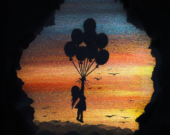 Girl fly balloons- cave -  silhouette - miniature miniature limited edition print mounted on wood