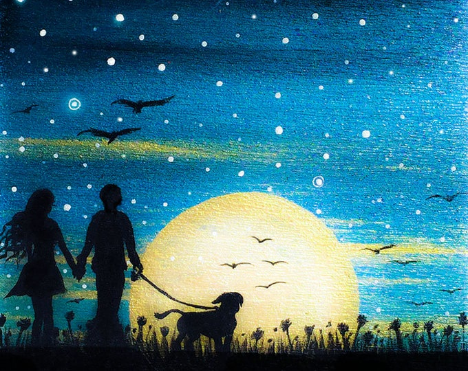 Couple with a dog - sunrise -  silhouette - miniature limited edition print mounted on wood