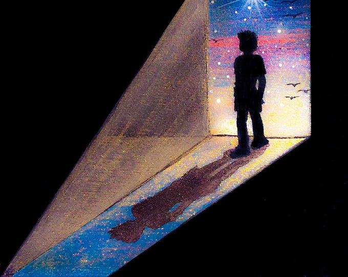 Boy standing at the door -  silhouette - miniature limited edition print mounted on wood
