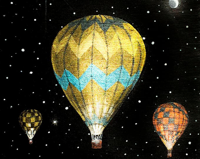 Hot air balloon #2 - miniature miniature limited edition print mounted on wood