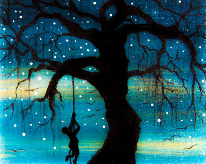 Boy climbing a weeping willow tree - night - silhouette art - miniature limited edition print mounted on wood
