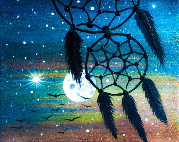 Dream catcher- night -  silhouette - miniature miniature limited edition print mounted on wood