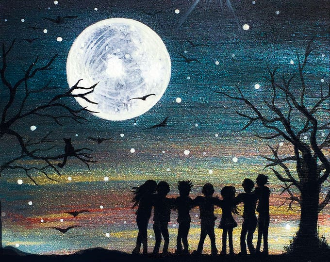 full moon group hug - silhouette - miniature miniature limited edition print mounted on wood