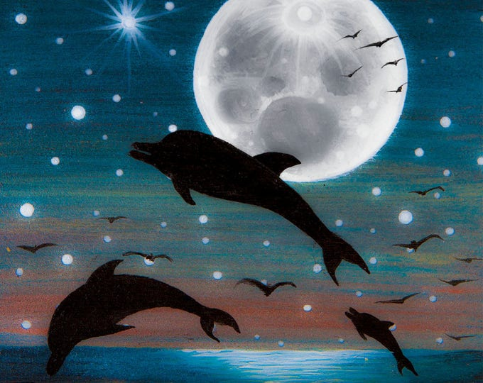 Dolphins on a full moon night - silhouette - miniature miniature limited edition print mounted on wood