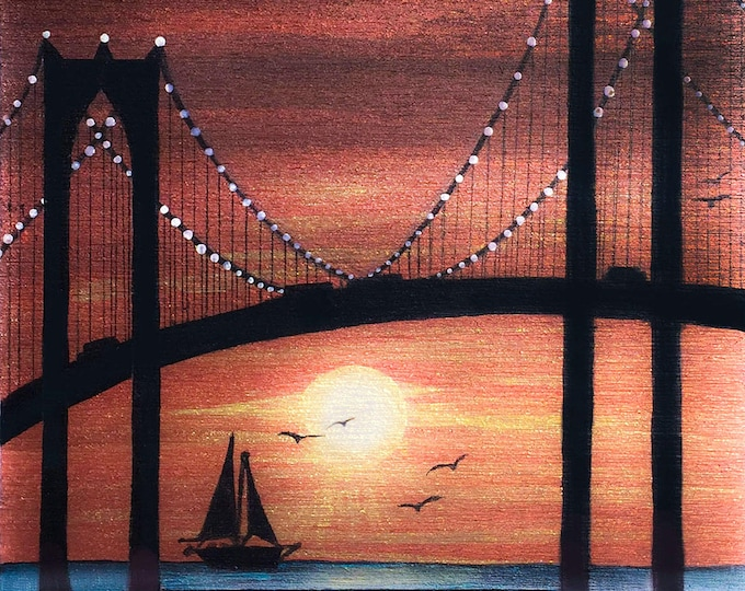 Boat under  a Bridge in sunset -  silhouette - miniature limited edition print mounted on wood