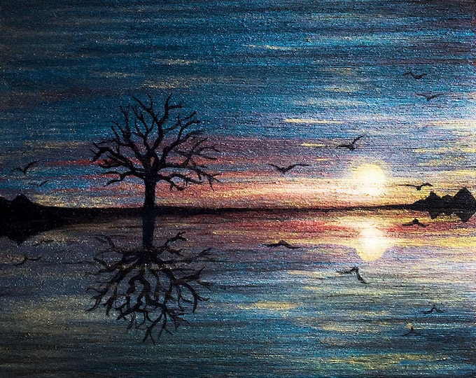 A tree reflection o water - sunrise - - silhouette art -- miniature print mounted on wood