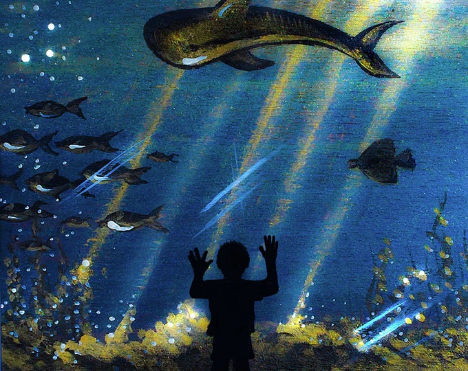 boy watching aquarium- silhouette art - miniature limited edition print mounted on wood