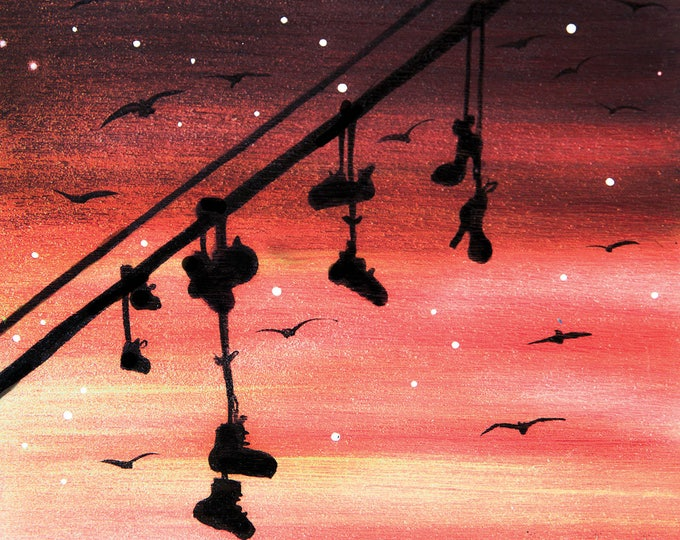 Hanged Shoes -sunset -  silhouette - miniature miniature limited edition print mounted on wood