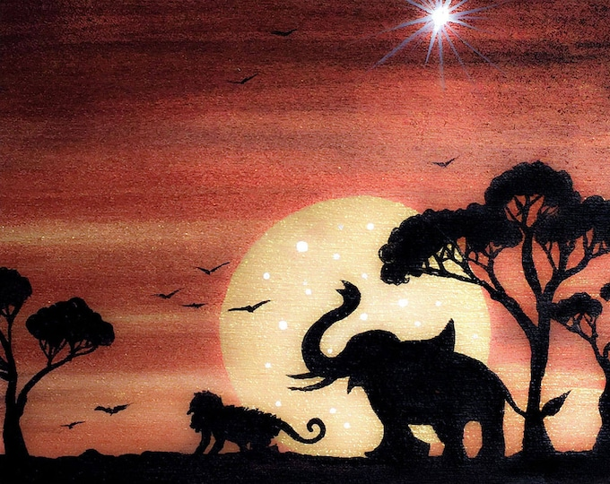 Elephant and monkey - sunset - silhouette - miniature limited edition print mounted on wood
