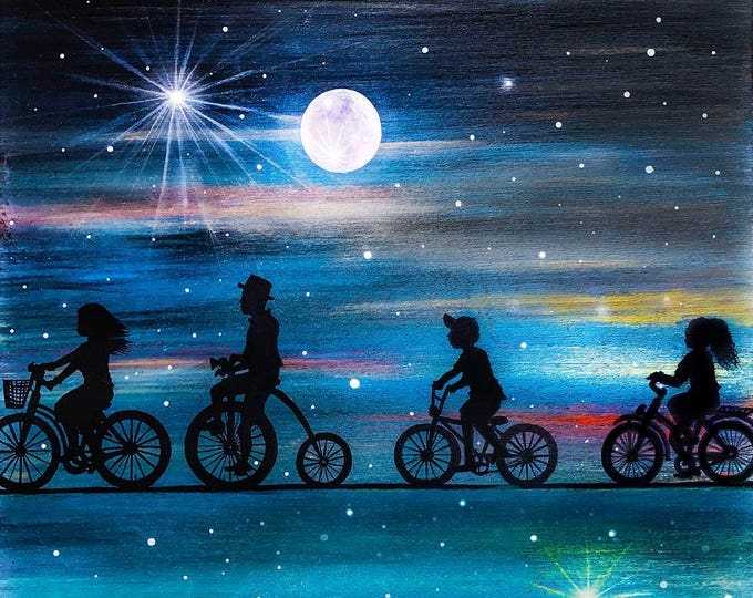 family night bike ride - silhouette - miniature miniature limited edition print mounted on wood
