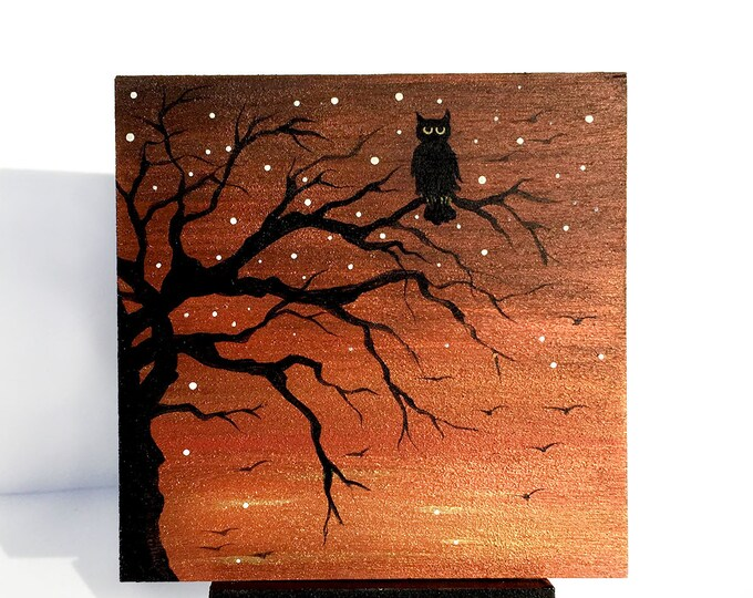 Owl on a tree branch-  sunset - silhouette - miniature miniature limited edition print mounted on wood