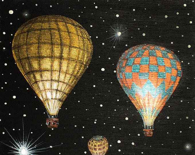 Hot air balloon #3 - miniature miniature limited edition print mounted on wood