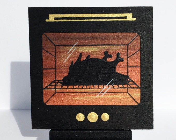 Oven roasted chicken -  silhouette - miniature miniature limited edition print mounted on wood
