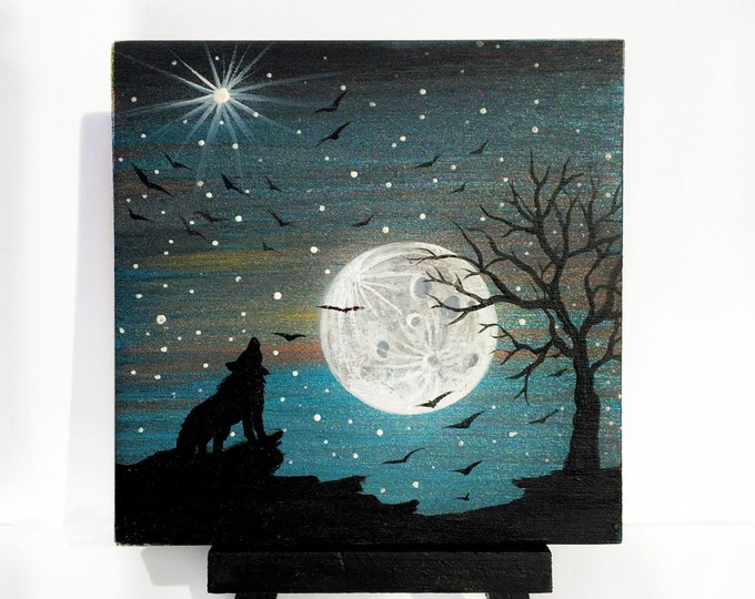wolf howling at the moon-  night - silhouette - miniature miniature limited edition print mounted on wood