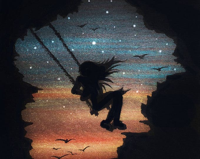 girl swing in the sky - cave -  silhouette - miniature miniature limited edition print mounted on wood
