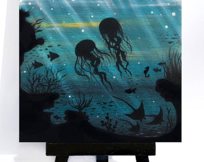 jelly fish manta rays cave -underwater -  silhouette - miniature limited edition print mounted on wood