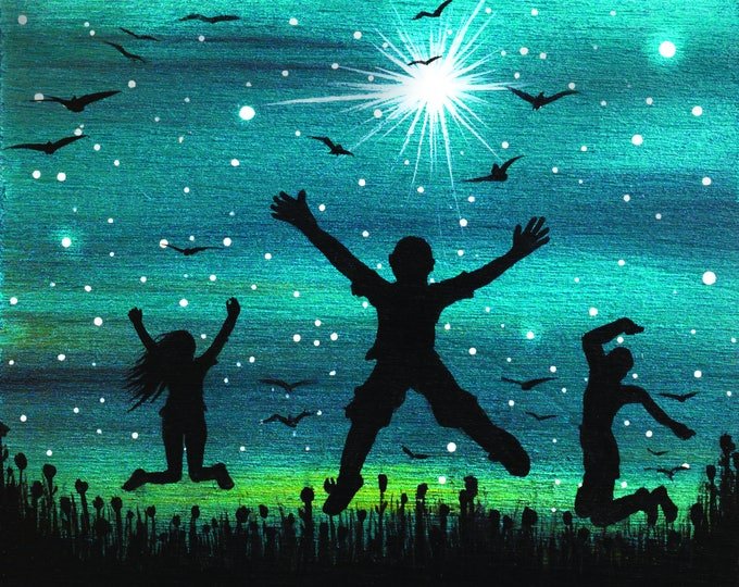 Happy people jumping - night -   silhouette - miniature miniature limited edition print mounted on wood