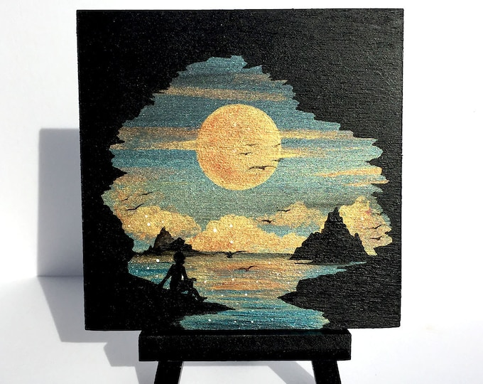 man observing sunset- silhouette - miniature miniature limited edition print mounted on wood