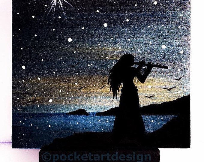 Wonan playing flute - night -   silhouette - miniature miniature limited edition print mounted on wood