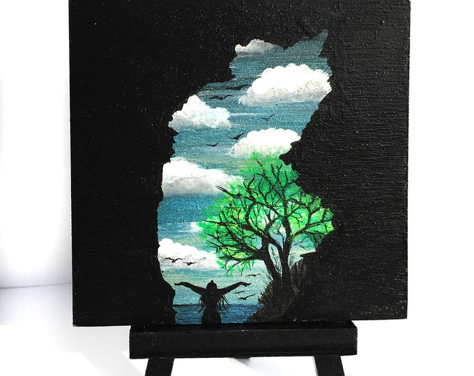 self portrait - hawaii cave -silhouette - miniature miniature limited edition print mounted on wood