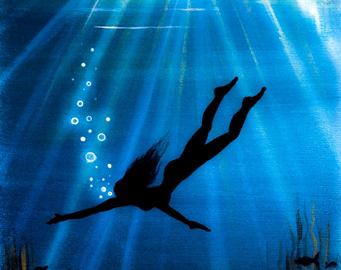 A woman diving- underwater -rays of light  -  silhouette - miniature limited edition print mounted on wood