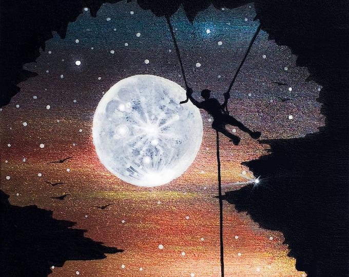 Full moon rock climbing - sunset - silhouette - miniature miniature limited edition print mounted on wood