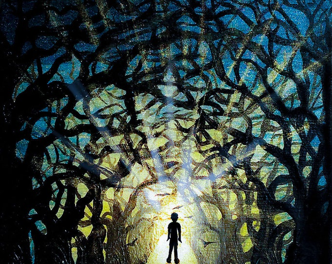 Boy walking into the forest - silhouette art - miniature limited edition print mounted on wood
