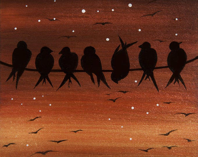 Birds on wire - sunset -  silhouette art - miniature original work - print mounted on wood