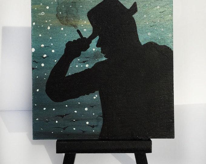 mystery man smoking -  night -   silhouette - miniature miniature limited edition print mounted on wood