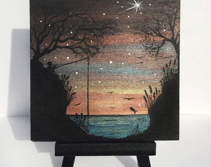 Fishermen at twilight -  silhouette - miniature miniature limited edition print mounted on wood