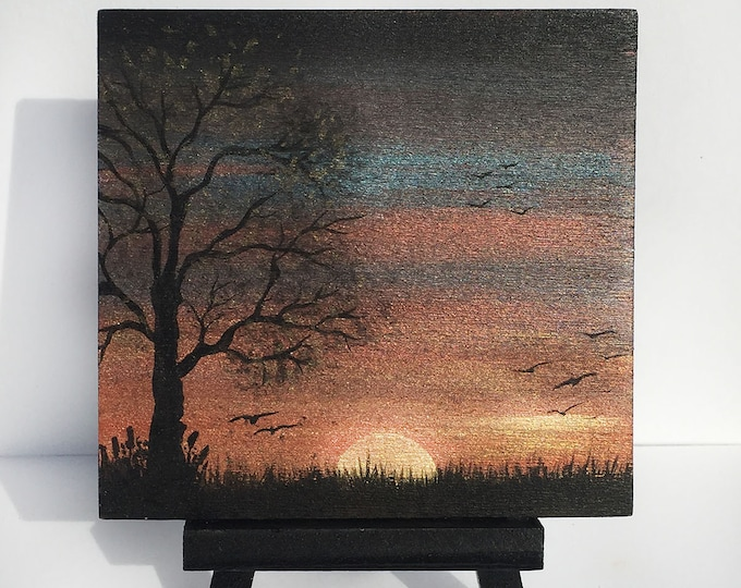 Tree at dusk -   silhouette - miniature miniature limited edition print mounted on wood