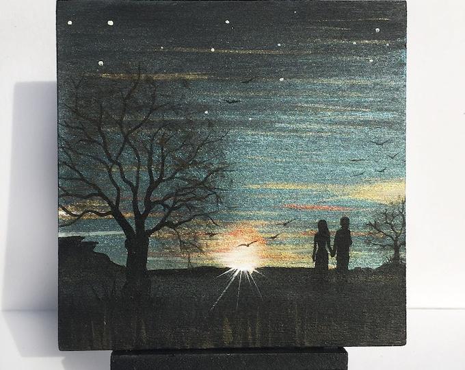Love in the horizon - romantic couple walk - sunrise - sunset -  silhouette - miniature miniature limited edition print mounted on wood