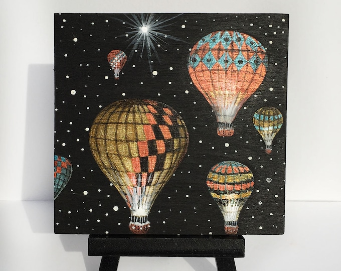 Six hot air balloons -  miniature miniature limited edition print mounted on wood
