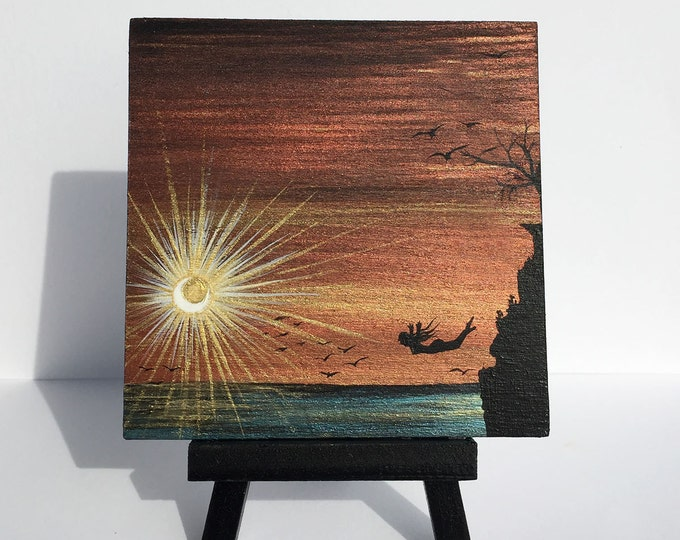 Sunset Cliff diving - woman -  silhouette - miniature miniature limited edition print mounted on wood